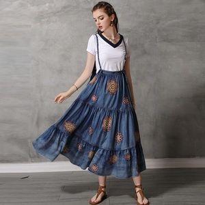 Blue long wrinkles bottom strap jean dress